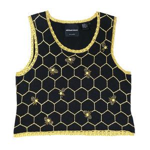 Michael Simon L Black Gold Bee Knit Sweater Shell